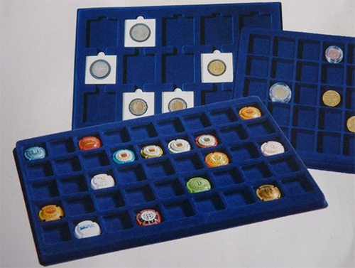 Cargo L6 Blue Felt Coin Tray Square Round Slab Compartments