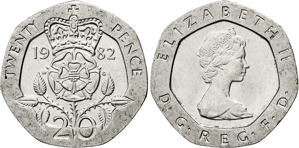 1982 20 pence coin